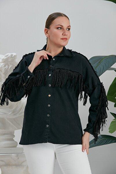 RMG Kadın Siyah Püskül Detaylı Büyük Beden Kot Ceket