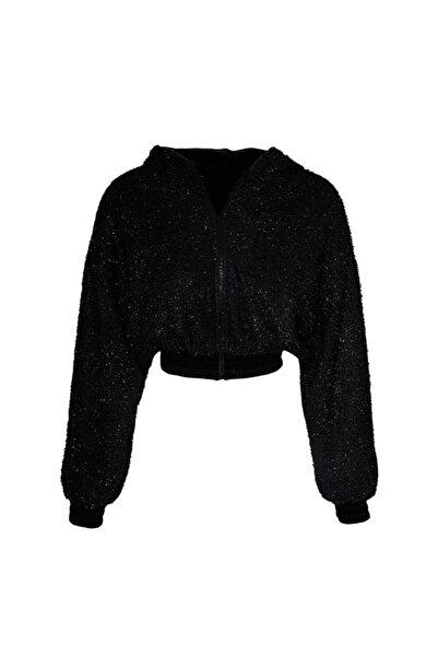 Keikei Kadın Siyah Sakallı Triko Uzun Kol Orta Boy Ceket