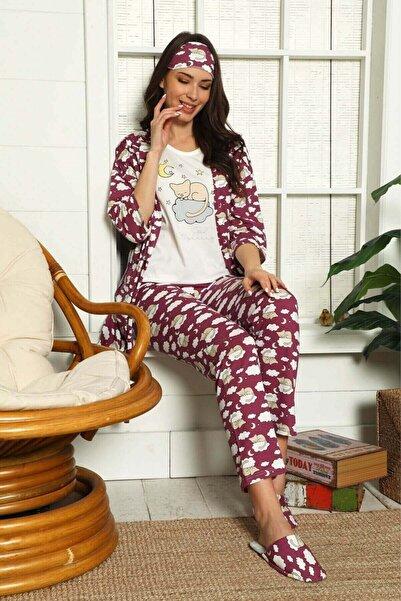 Mossta Kadın Mürdüm Good Morning Sabahlık Pijama Takımı
