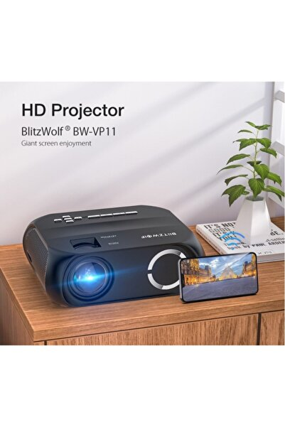 BlitzWolf Vp11 Lcd Led Projeksiyon Hd Kablosuz Ekran Yansıtma 6000 Ansi Lumen 1:3500