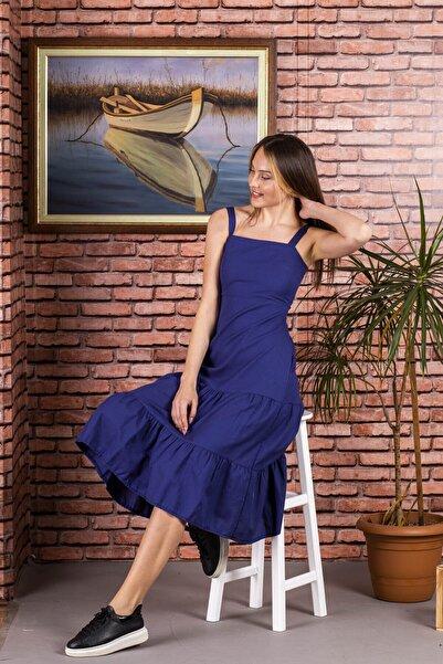 STAMINA Kadın  Kare Yaka Kalın Askılı Uzun Elbise-5el25