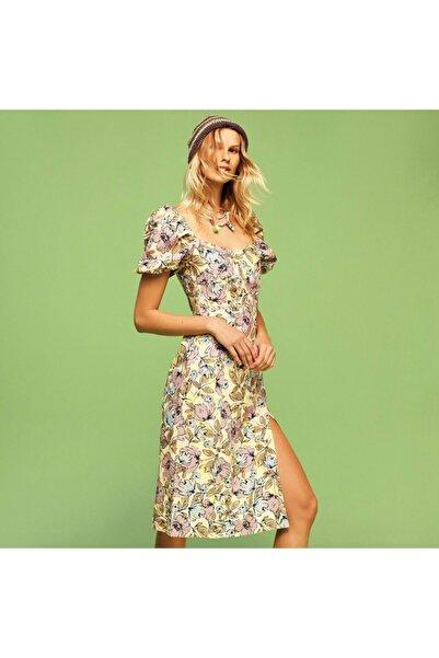 Mudo Çiçekli Karpuz Kol Pamuk-keten Mini Elbise