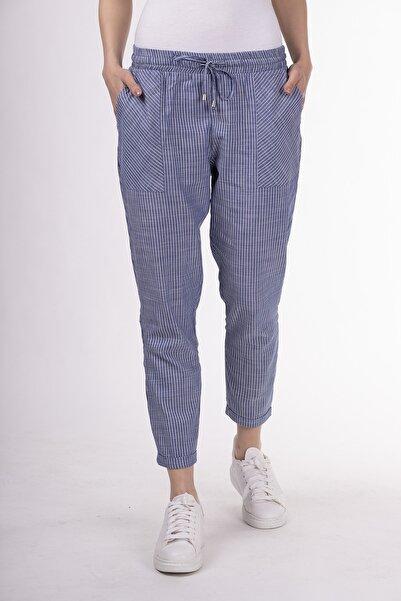 STAMINA Kadın Mavi Beli Lastikli Cepli Çizgili Pantolon-5pn05