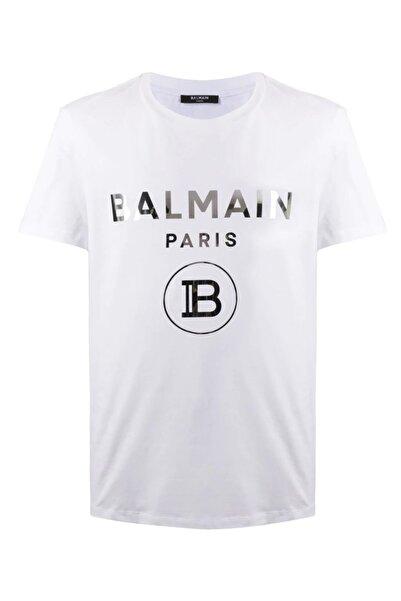 BALMAIN Unisex Beyaz Balmain Metallic White Regular Fit T-shirt