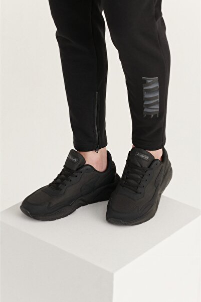 Avva Erkek Siyah Suni Deri Spor Ayakkabı A11y8024