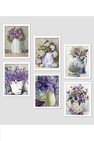 Kate Louise Mor Çiçek Çerçeve Görünümlü Mdf Tablo 6 Parça  60x60 cm