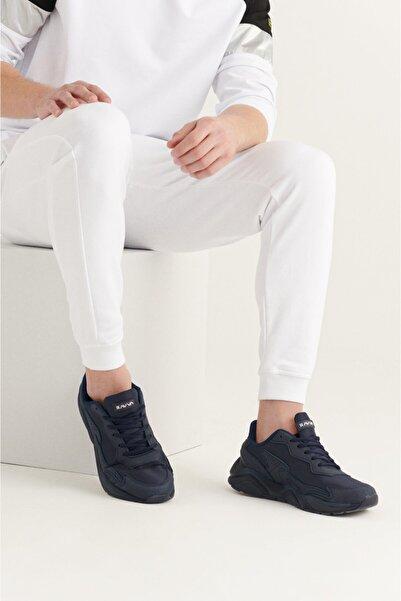 Avva Erkek Lacivert Suni Deri Spor Ayakkabı A11y8024