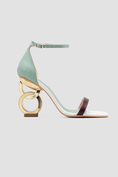 Limoya Deloris Yeşil Hasır Detaylı Topuklu Sandalet