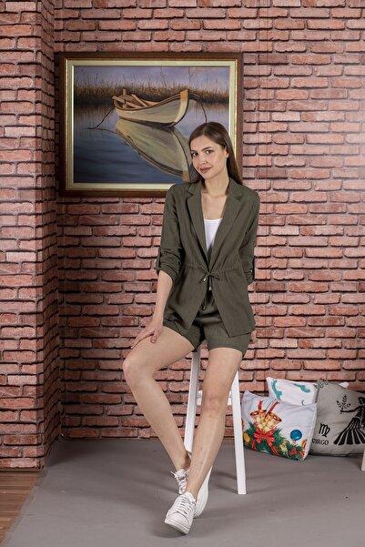 STAMINA Kadın Haki Beli Bağcıklı Kolları Apartlı Ceket 4Kt0219
