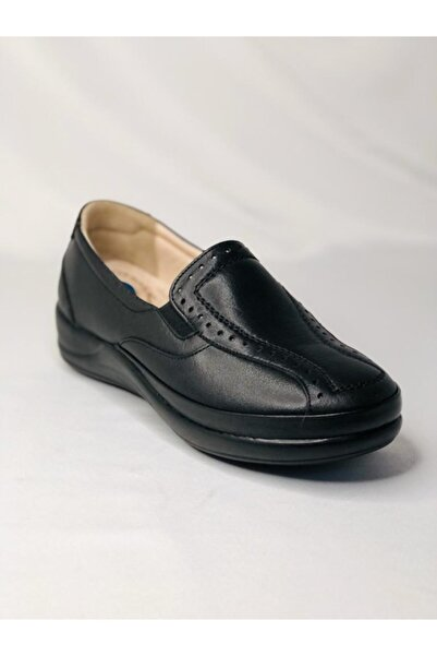 PUNTO 632056 Siyah Hakiki Deri Doktor Tavsiyeli Ortopedik Anne Ayakkabısı