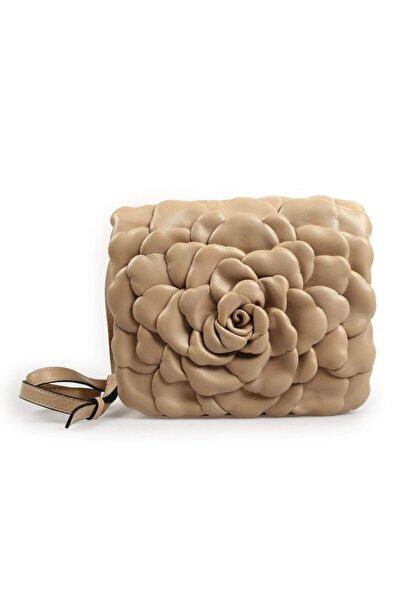 Flower Nude Deri Gül Detaylı Çanta