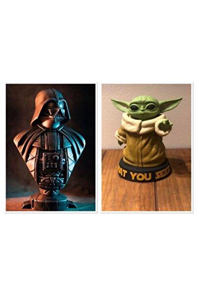 3 boyutlu dükkan Darth Vader Baby Yoda Büst Figür, Starwars Darth Vader Baby Yoda (kutulu)
