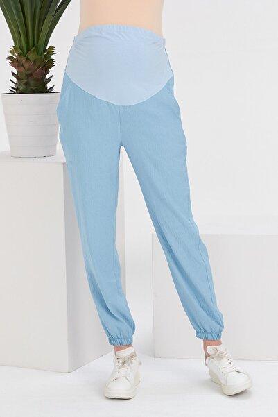 Görsin Hamile Kadın Bebe Mavi Paçaları Lastikli Hamile Pantolon