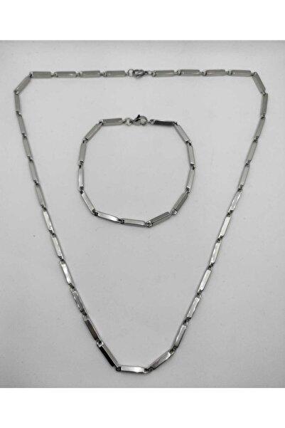 Bay hediye Erkek Gümüş Küp Üçgen Model Çelik Kolye Ve Bileklik Set