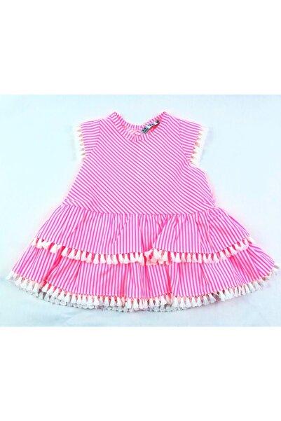 Veo Baby Kız Bebek Pembe Neon Çizgili Fırfırlı Elbise