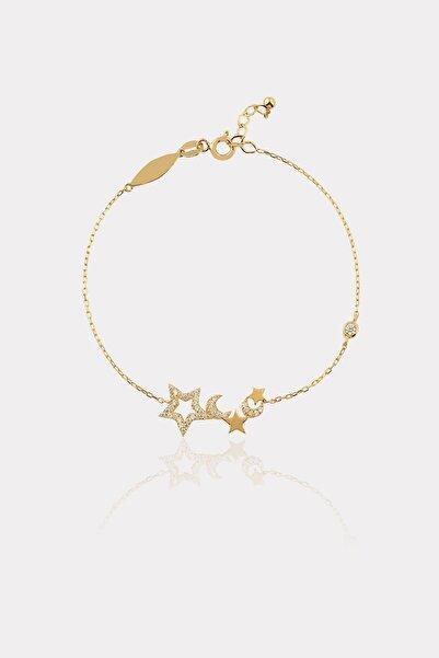ATASAY Unisex Sarı Altın Taşlı Ay Yıldız Bileklik