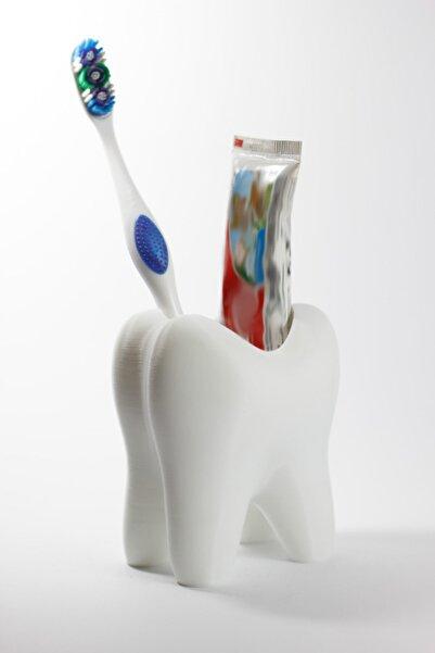 dream3d Beyaz Diş Şeklinde Diş Fırçası Ve Diş Macunu Kutusu