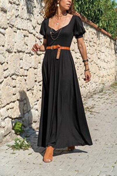 Kadın Siyah Öpücük Yaka Uzun Kiloş Elbise