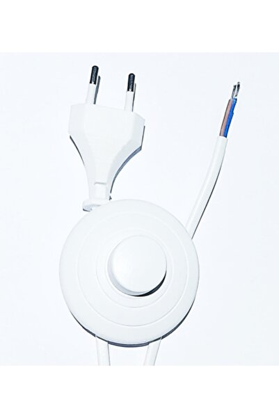 Renklipriz Yer Puarlı Fişli Lambader Abajur Kablosu 4 Metre Beyaz