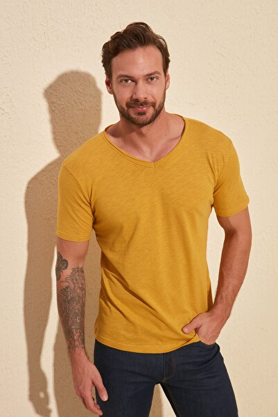TRENDYOL MAN Hardal Basic Flamlı Süprem Regular Fit T-Shirt TMNSS20TS0035