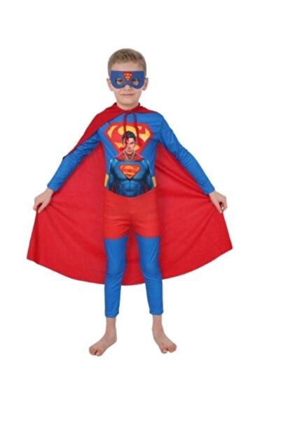 Superman Maskeli Pelerinli Doğum Günü Parti Kostümü