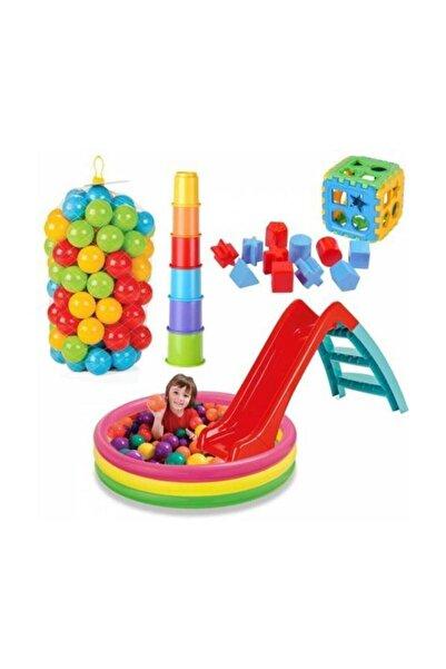 DEDE Kaydıraklı Oyun Seti 86 cm Havuz Kaydırak Bultak Mini Kule 100 Adet Top 86cm havuzlu