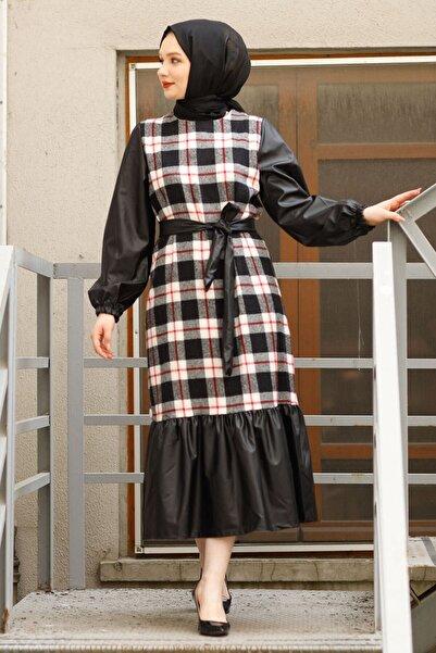 InStyle Deri Detaylı Ekose Desen Fırfırlı Elbise - Ekru