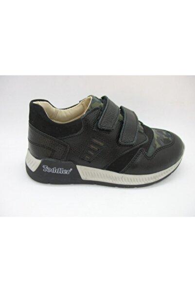Toddler Unisex Çocuk Siyah Deri Ortopedik Destekli Ayakkabı 02307
