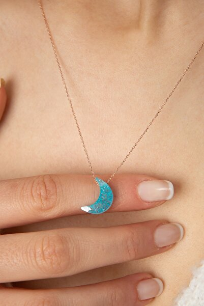 Elika Silver Kadın Faset Kesim Mavi Ay Model 925 Ayar Gümüş Kolye