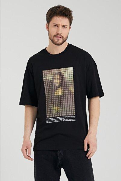 BREEZY Unisex Oversize Baskılı Siyah Tişört Mona Lisa