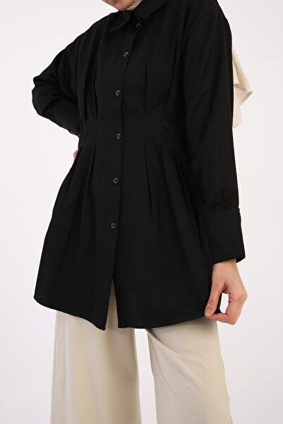 ALLDAY Kadın Siyah Oversize Pileli Gömlek Tunik