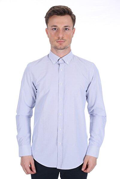 Diandor Erkek Açık Gri/Grey Uzun Kollu Gömlek 1912059