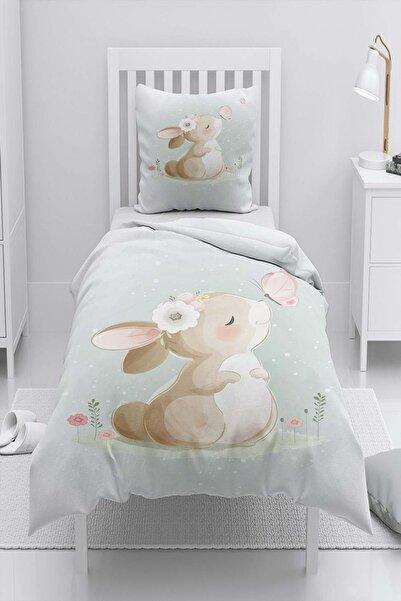 Else Halı Yıldızlı Sevimli Tavşan Desenli Tek Kişilik Çocuk Nevresim Takımı