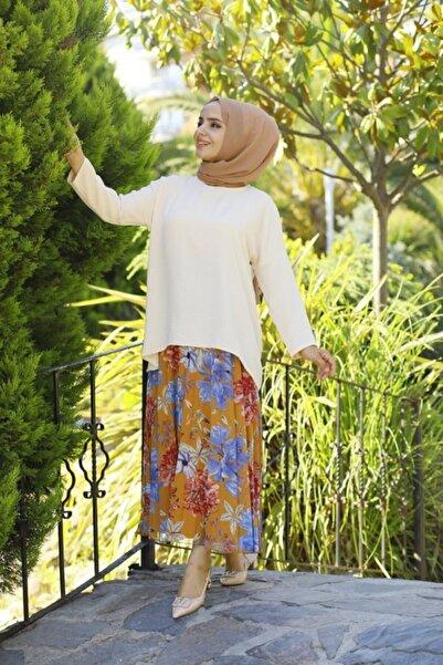 modabirsen Kadın Beyaz Ayrobin Kumaş Salaş Bluz