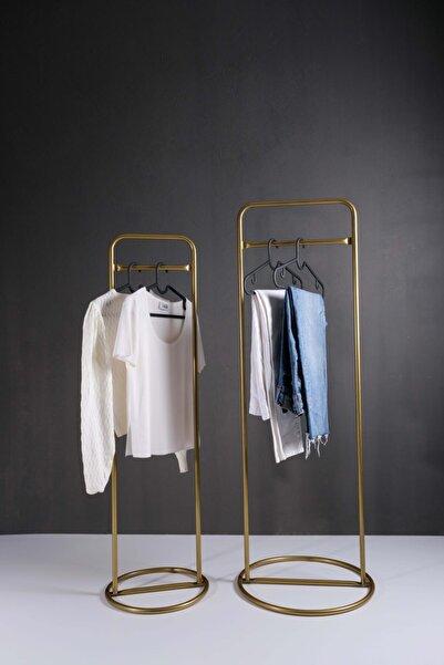 Fec Reklam Metal Ayaklı Konfeksiyon Askılığı Gold Elbise Askılık 2'li