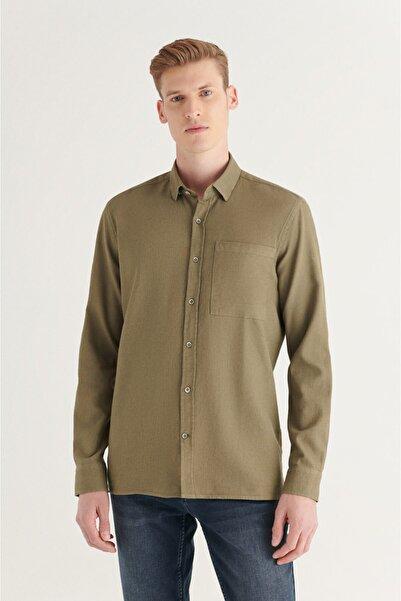 Avva Erkek Haki Armürlü Klasik Yaka Comfort Fit Kapaklı Cepli Gömlek A11y2023