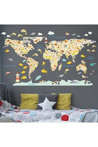 Canvartie Hayvanlar Dünya Haritası Sticker 170x100 cm