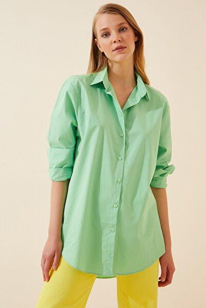 Happiness İst. Kadın Yeşil Boyfriend Pamuklu Uzun Gömlek US00541