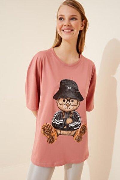 Kadın Gül Kurusu Baskılı Oversize Uzun Penye T-shirt ZV00105