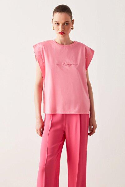 İpekyol Kadın Pembe Vatkalı Tişört IS1210070194