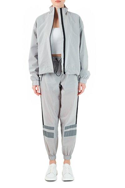 Ruck & Maul Kadın Gri Beli Büzgülü Cepli Jogger Pantolon Rmw82000705