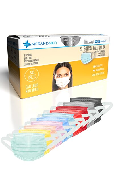 Merand Global 3 Katlı Meltblown-spoundbond Yeni Nesil Cerrahi Maske - 1 Kutu ( Kutu Içi 50 Adet ) - 10 Renk