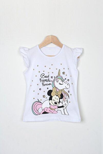 UNICORN Kız Çocuk Beyaz Unicorn Minnie Mouse Baskılı Kısa Kollu T-Shirt