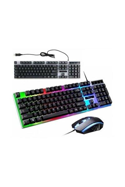 POLYGOLD Pg-8017 Oyuncu Isıklı Klavye Mause Seti Klavye + Mouse Seti