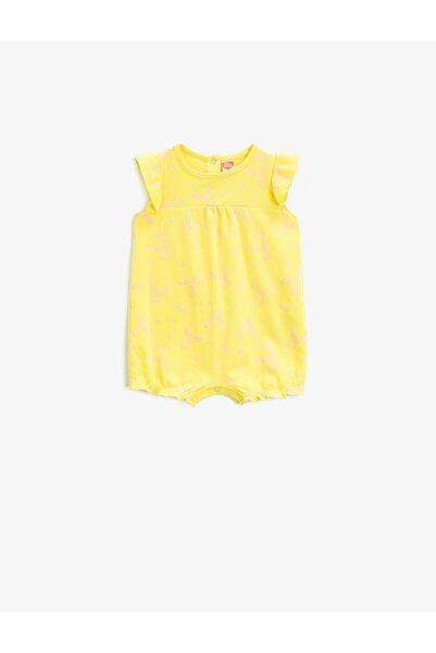 Koton Kız Bebek Sarı Desenli Pamuklu Hayvan Desenli Tulum