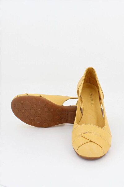 Deripabuc Hakiki Deri Sarı Kadın Deri Babet Trc-4000