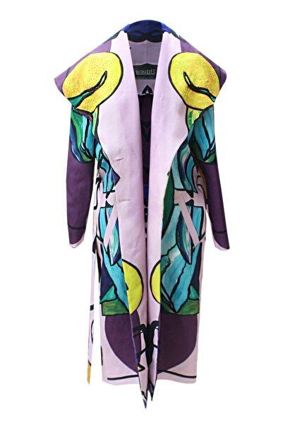 Bashaques Kadın Pembe Desenli Boncuk Nakışlı Kuşaklı Trençkot