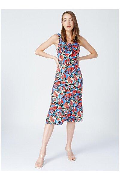 Fabrika Kadın Mavi Çiçek Desenli Elbise
