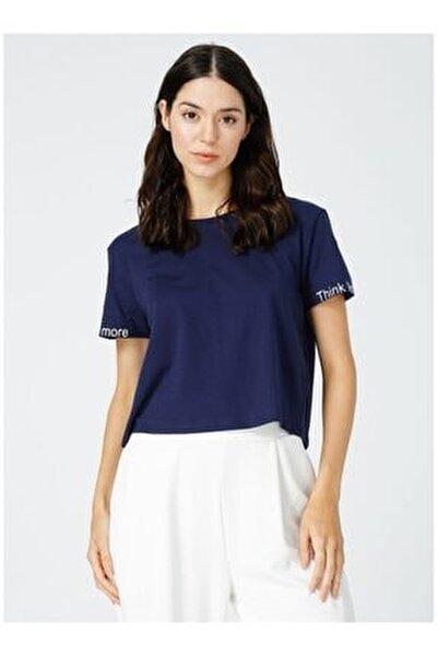 Kadın Lacivert Bisiklet Yaka T-shirt