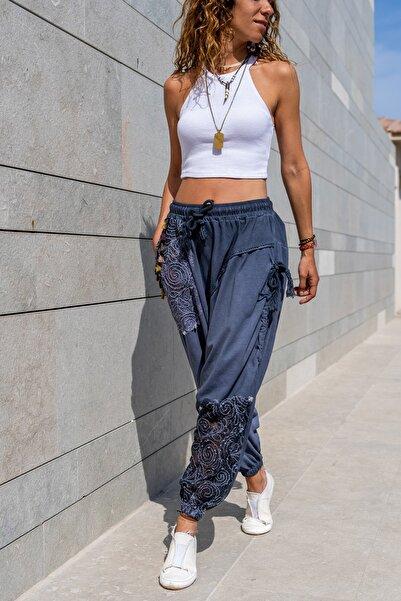 Güneşkızı Kadın İndigo Yıkamalı Püskül Dantel Detaylı Salaş Şalvar Pantolon GK-RSD2052